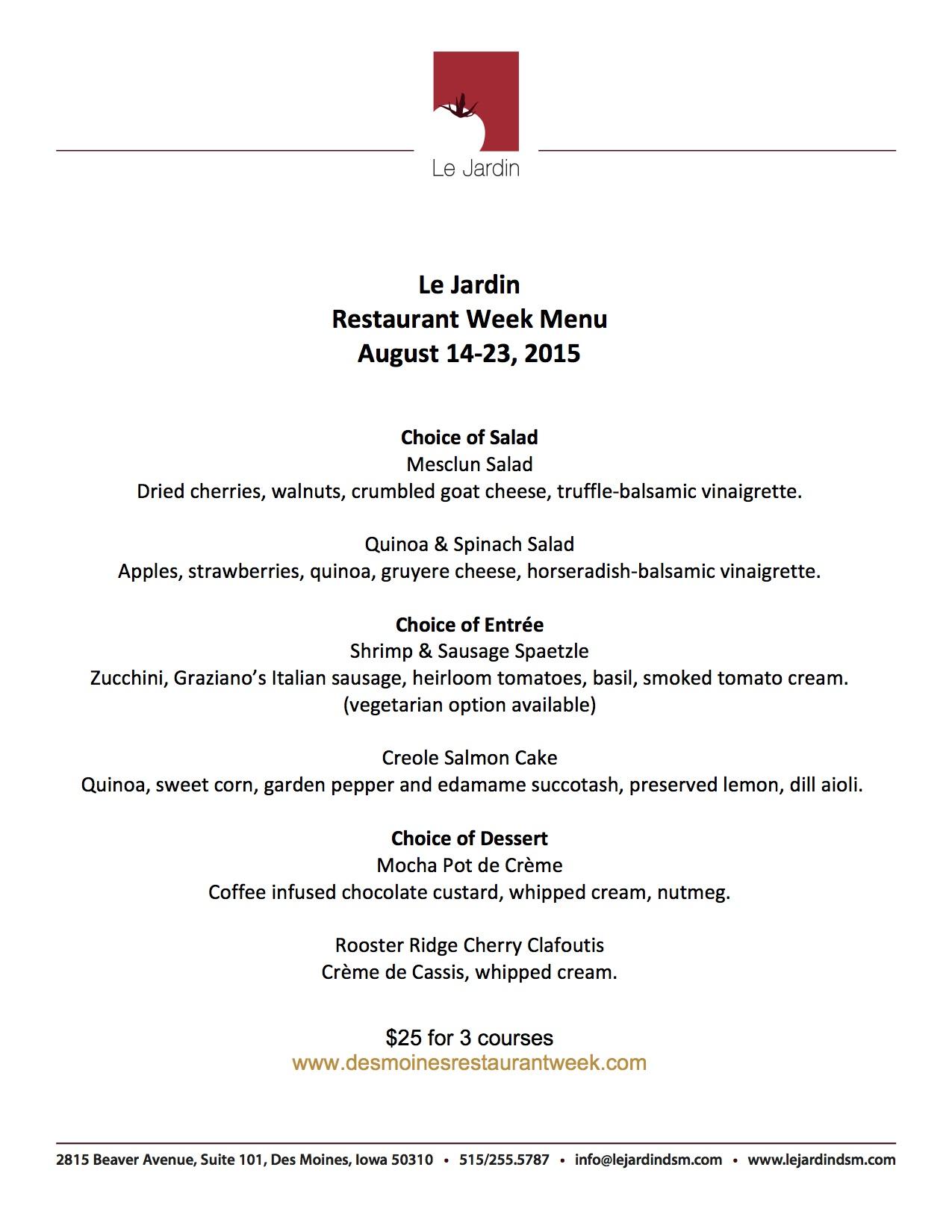 Restaurant week menu aug 14 23 le jardin for Cafe jardin menu
