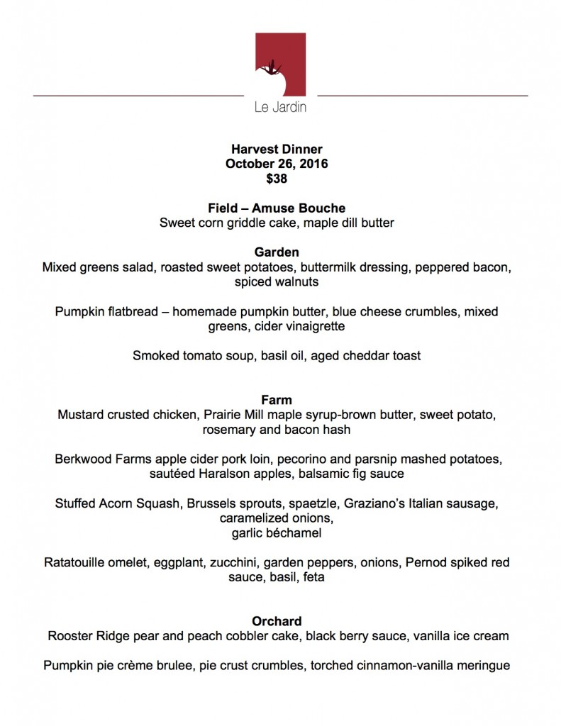 October 26 harvest dinner le jardin for Jardin lee menu