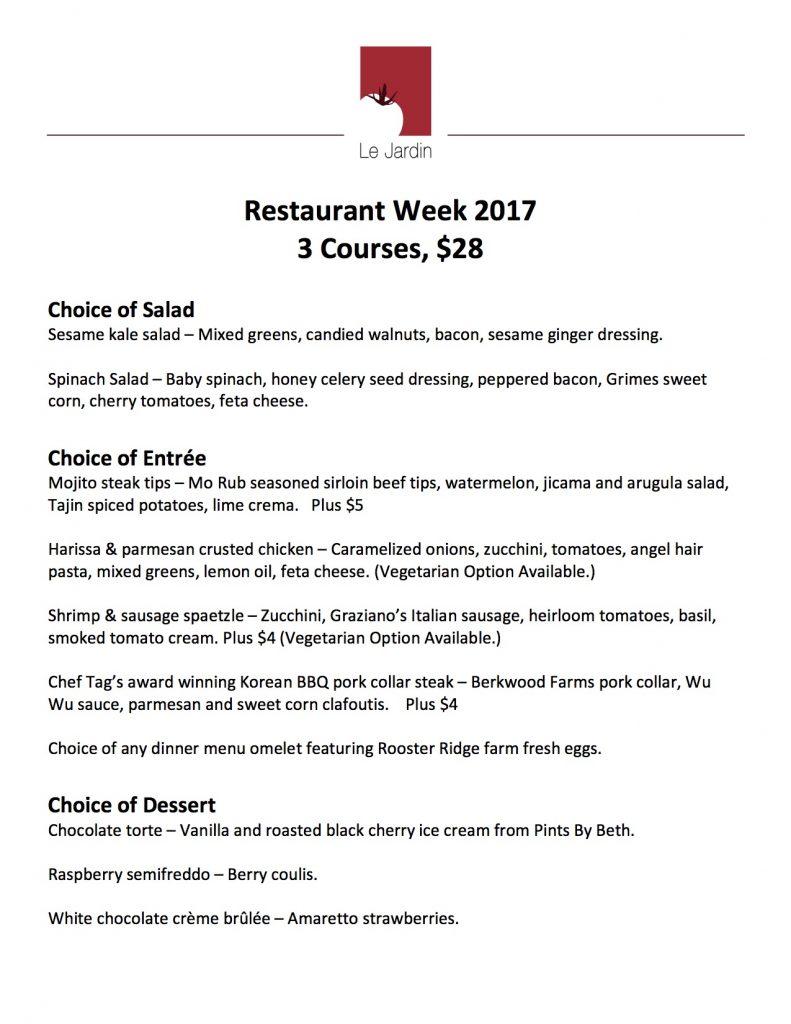 Des Moines Restaurant Week Menu