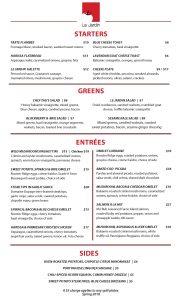 Spring 2018 dinner menu